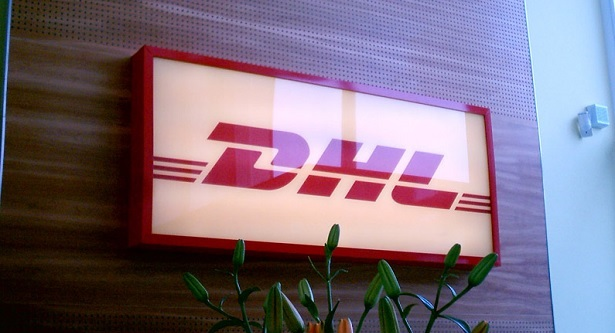 DHL indoor sign in Gatwick