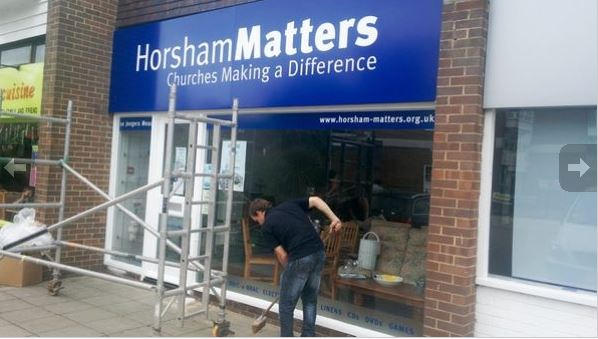 The finished signage at Horsham Matters shop in Billingshurst