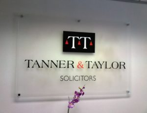 tanner and taylor solicitors interal signage