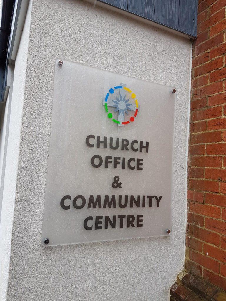 Church office external sign