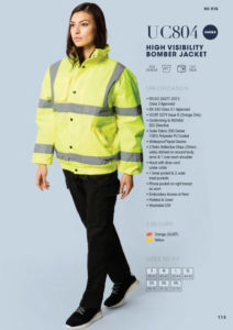 High visibility bomber jacket workwear
