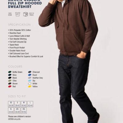 adults classic full zip hooded sweatshirt