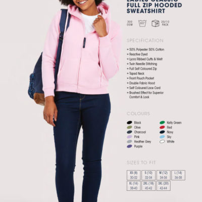 ladies classic full zip hooded sweatshirt