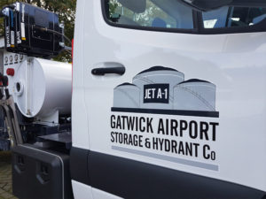 Gatwick Airport storage and hydrant company vehicle graphics