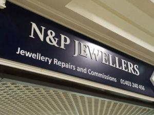 N&P jewellers signage