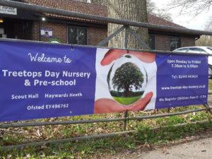 Treetops nursery outdoor graphics
