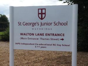 St George's Junior School outdoor sign