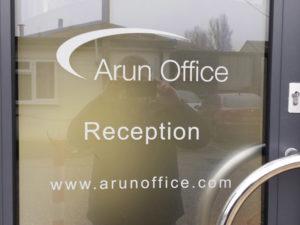 Arun Office window sign