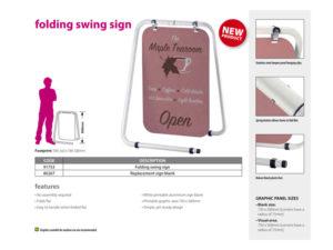 Folding swing signage
