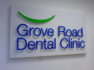 Grove road dental clinic indoor sign