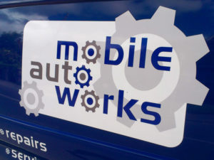 Mobile auto works vehicle graphic