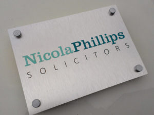 Nicola Phillips Solicitors indoor sign