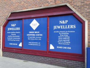 N&P jewellers window graphics