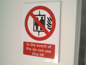 Fire lift safety indoor sign