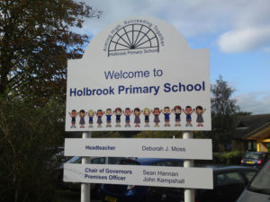 Holbrook primary school outdoor sign